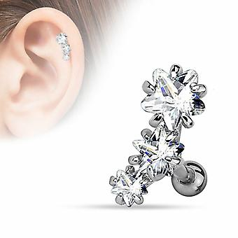 Cartilage tragus piercing bar - triple star cz prong-set - 316l surgical steel