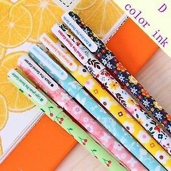 زهرة ملونة جل Canetas القلم مع مربع، المكتب، لوازم المدرسة