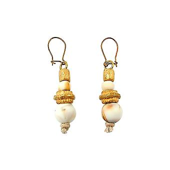 Hook Earrings With Beads White Brown