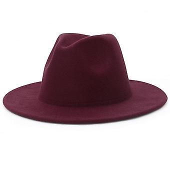 Femmes Solid Color Wool Felt Hat Automne Hiver Panama Gamble Jazz Cap