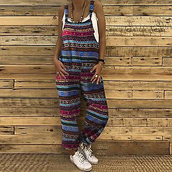 Mulheres Casual Sólido Strappy Dungarees Vintage Cotton Linho Solto Harem Rompers