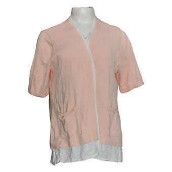 Isaac Mizrahi Live! Women's Sweater Elbow Slv Layered Cargidan Pink A378537