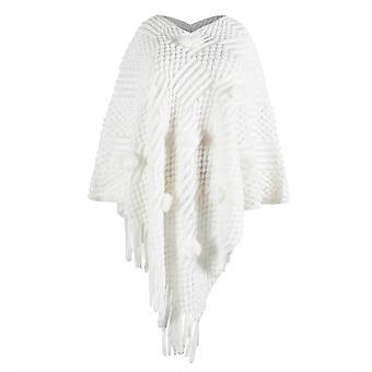 Autumn Vintage Women Cardigan V-neck, Solid Hairball, Tassel Sweater Coat,