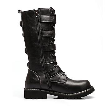 Fashion Pu Leather Rock Mid-calf Buckle Motorbike Punk Shoe