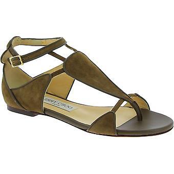 Sandales à string plat Jimmy Choo Women's en cuir de daim brun clair avec boucle