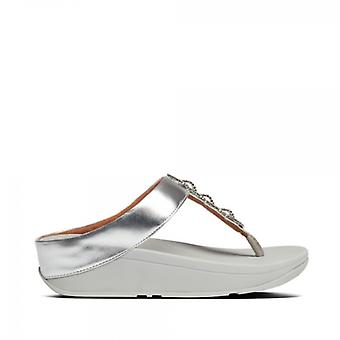 FitFlop Fino Sparkle Ladies Toe Post Sandal Silver