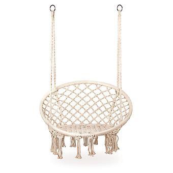 Závesná stolička beige - záhradné hojdacie kreslo - 63x35x97cm