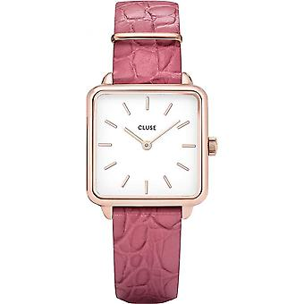 Cluse Cl60020 La Tétragone Rose Gold & Soft Berry Alligator Leather Ladies Watch