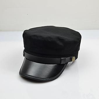 Large Size Navy Cap/small Head Flat  And Cotton Pu Brim Army Hats, Big Bone Men
