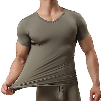 Sottoshirt Ice Silk Spandex Sheer T Shirts Male Nylon V-neck Short Sleeves Tops