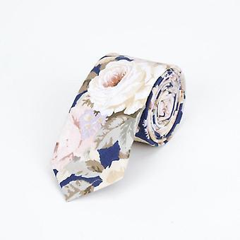 Upouusi Men's kukka kaula solmiot rento puuvilla slim laiha häät laivaston puolue