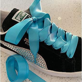 Turquoise Satin Ribbon Shoelaces Laces