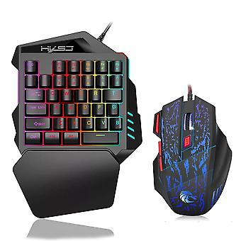 Ergonomic Keyboard And Mouse Combo, Colorful Backlight Gaming Keyboards Set
