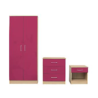 Darcy Bedroom Set Pink - Cupboard, Cabinet, Bedside Table