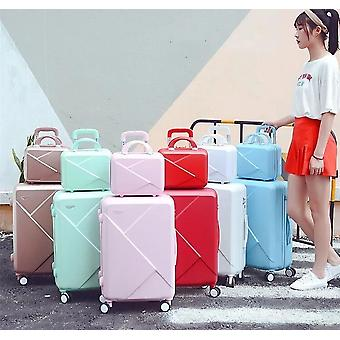 Retro Rolling Luggage Trolley Case With Cosmetic Bag