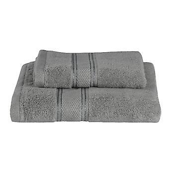 Asciugamano Ospite Colore Grigio in Cotone, L40xP60 cm, L60xP100 cm