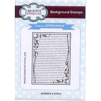 Creative Expressions Monday's Child Background Stamp
