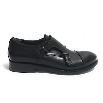 Men's Shoes Cavallini Double Buckle Stretch Leather Washed Black Color Hand Made U18ca05