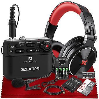 Zoom f2 ultracompact bærbar feltoptager med bluetooth, lavalier mikrofon, studio hovedtelefoner, batteri + oplader, 32GB og mere i deluxe bundt