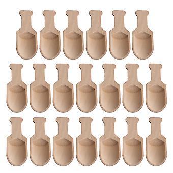 20pcs 95x34mm Wood Color Natural Wooden Salt Spice Spoon Cooking Parts