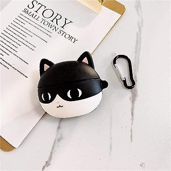 Hauska 3D-sarjakuvakotelo AirPods pro - Musta kissa + koukku