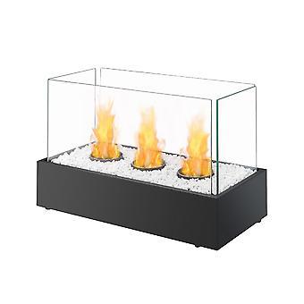 Bio Ethanol Triple Burner Black Fireplace Tabletop Firebox Burner Freestanding