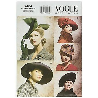 Vogue Coser Pattern 7464 echa de menos sombreros vintage de todos los tamaños