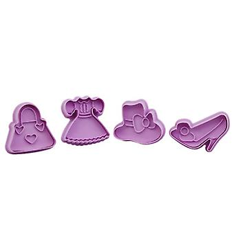 4pcs/set Diy Baking Tools Silicone Biscuit Mold Dress Mold Fudge Cake Mold