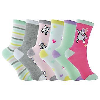 6 Pk dievčatá pastel novinky jednorožec ponožky