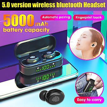V8-1 tws بلوتوث 5.0 سماعات الأذن اللاسلكية سماعة الأذن اللاسلكية أدى عرض 5000mah السلطة البنك سماعة الرأس التحكم باللمس مع هيئة التصنيع العسكري