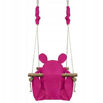 Småbarn swing trä 35 cm – Rosa björn