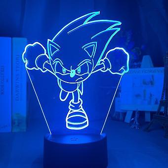 سونيك القنفذ 3D أدى ليلة ضوء الأطفال غرفة نوم مصباح الجدول الملونة