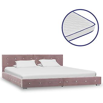 vidaXL sänky muistivaahto patja vaaleanpunainen sametti 180x200cm