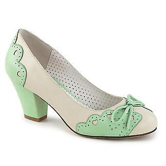 Pin mujeres's zapatos hasta crema-menta cuero sintético
