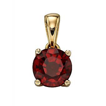 HS Johnson HSJ-GP2194 Women's 9ct Gold Ruby Birthstone Pendant With Chain