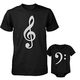 Taulukon Clef isä paita ja bassoavain vauvan body varusteet asettaa isien päivä lahja