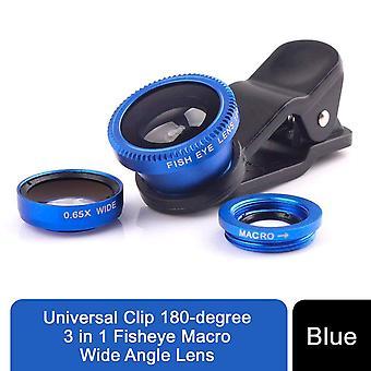 Universal Clip 180-graders 3 i 1 Fiskeøje makro vidvinkelobjektiv - blå