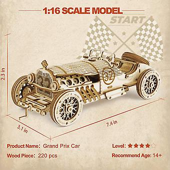 3d Wooden Puzzles For Adults Mechanical Models Kits To Build (grand Prix Car)
