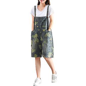 Woman Oversize Overalls Printed Demin Capri