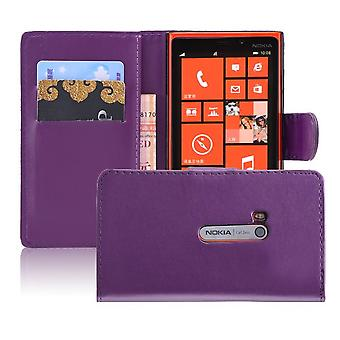 Buch-Brieftasche PU Leder Case Cover für Nokia Lumia 920 + Stift - lila