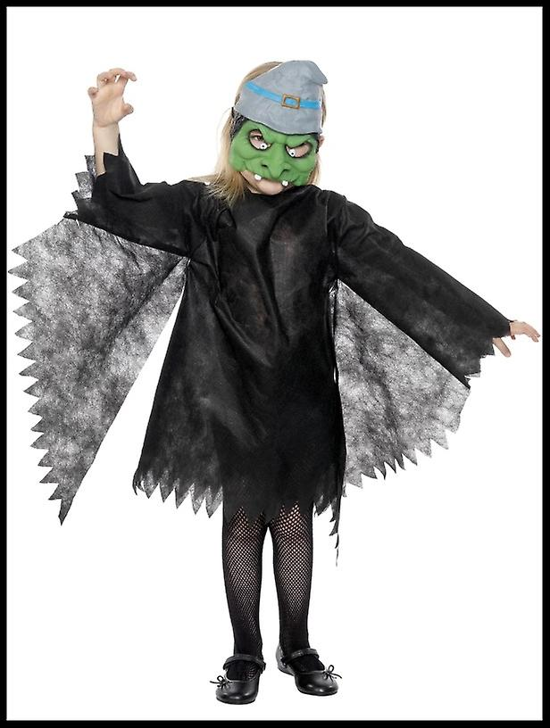 Child's Witch Halloween Fancy Dress Costume with Hat Mask & Tunic Black/Green