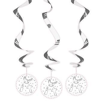 Rotor de décoration communion confirmation spirale 3 PCs blanc Deckendeko