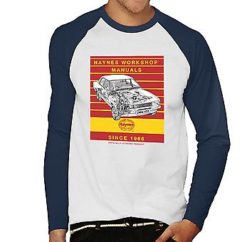 Haynes Workshop Manual 0409 Ford Cortina 1300 Stripe Men's Baseball Long Sleeved T-Shirt