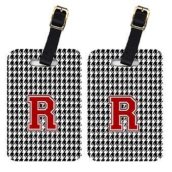 Pair of 2 Monogram - Houndstooth Black Initial R Monogram Initial Luggage Tag