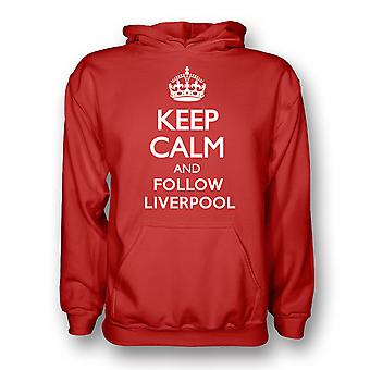 Keep Calm And Följ Liverpool Hoody (röd)