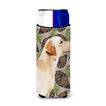 Yellow Labrador #2 Pine Cones Michelob Ultra Hugger for slim cans