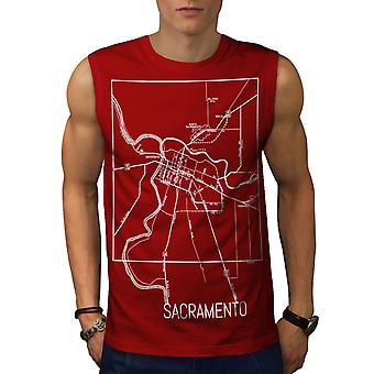 Sacramento Karte Mode Männer RedSleeveless T-shirt | Wellcoda