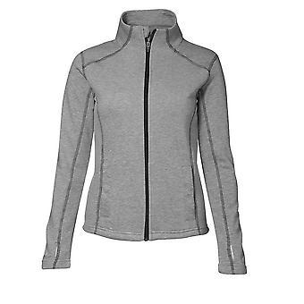 ID Womens/Ladies Contrast Full Zip Fitted Long Sleeve Sweatshirt