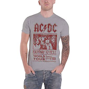 AC/DC T Shirt Highway To Hell World Tour 1979/1980 new Official Mens Grey