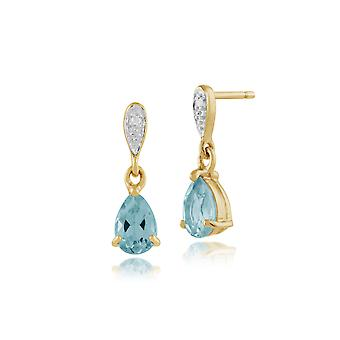 Classic Pear Blue Topaz & Diamond Drop Earrings in 9ct Yellow Gold 135E1060039